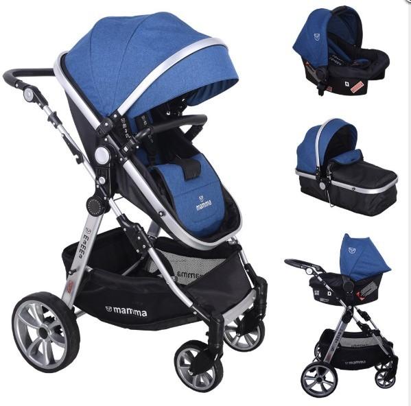 Mamma - Mamma Panda Travel Sistem Bebek Arabası - Mavi