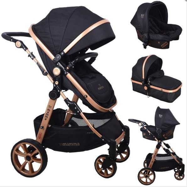 Mamma Tiger Gold Travel Sistem Bebek Arabası - Siyah