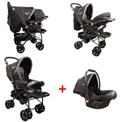 McRae - McRae Comfort Travel Sistem Çift Yönlü Lux Bebek Arabası (MC-750T) Siyah-Gri