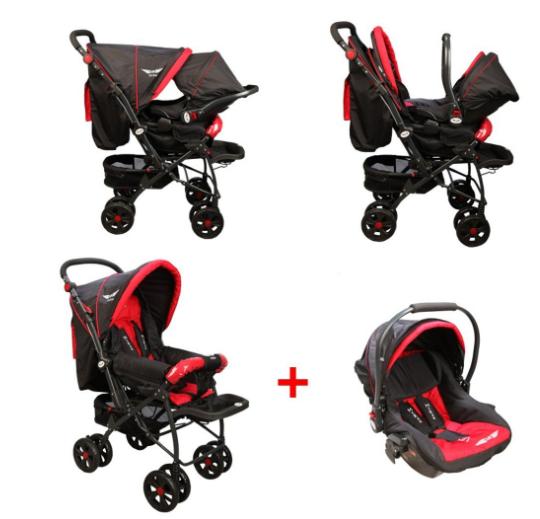 McRae - McRae Comfort Travel Sistem Çift Yönlü Lux Bebek Arabası (MC-750T) Siyah-Kırmızı