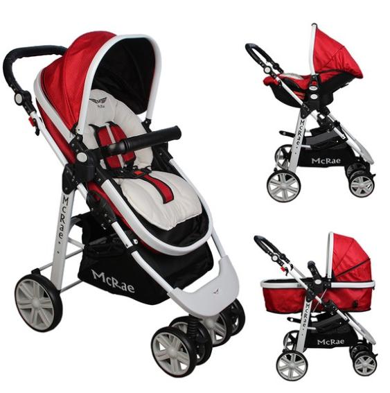 McRae - McRae Premium Trio Travel Sistem Bebek Arabası (MC-500 ) Kırmızı