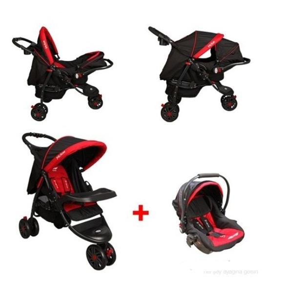 McRae - McRae Triple Jogger Travel Set 3 Tekerlekli Bebek Arabası Kırmızı ( MC-815T)