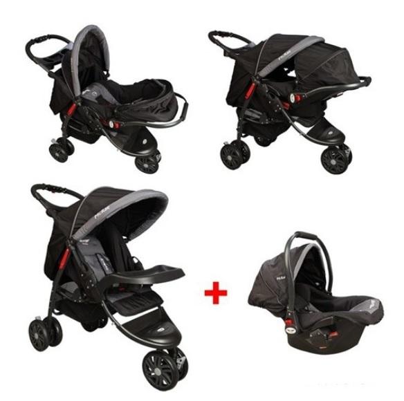 McRae - McRae Triple Jogger Travel Set 3 Tekerlekli Bebek Arabası Siyah ( MC-815T)