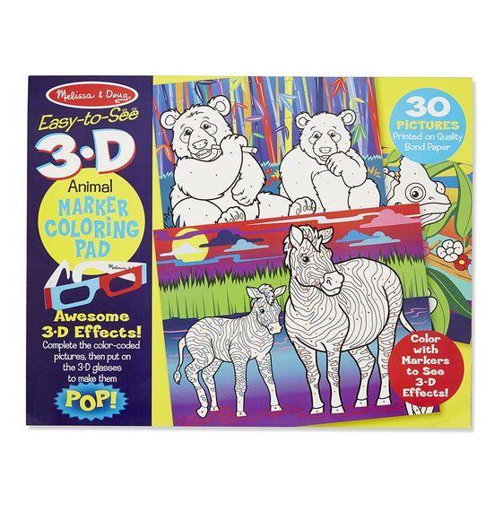 Melissa & Doug - Melissa & Doug 3D Marker Boyama Kitabı - Hayvanlar