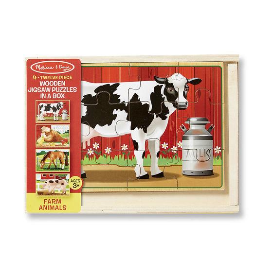 Melissa & Doug - Melissa & Doug Ahşap 12x4 Yapboz Seti - Çiftlik Hayvanları