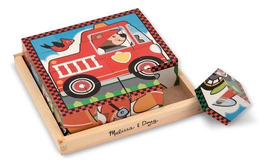 Melissa & Doug - Melissa & Doug Ahşap 6'lı Küp Yapboz - Araçlar