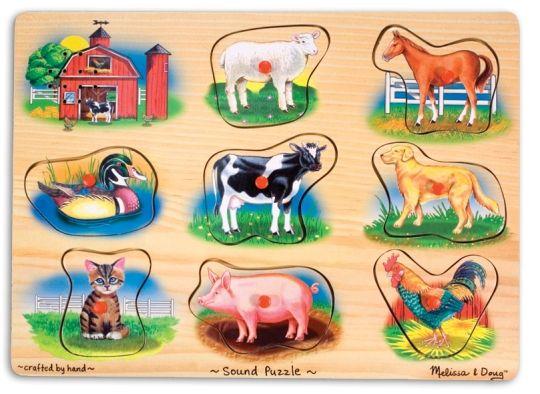 Melissa & Doug - Melissa & Doug Ahşap Sesli Yapboz - Çiftlik Hayvanları