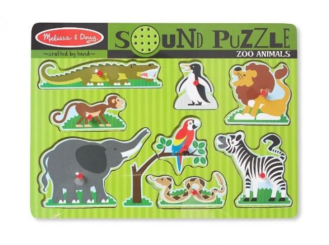 Melissa & Doug - Melissa & Doug Ahşap Sesli Yapboz - Hayvanat Bahçesi