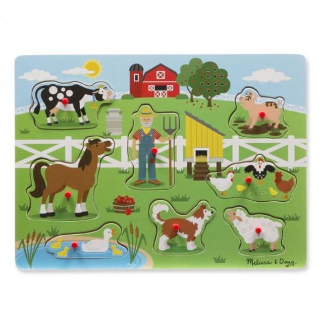 Melissa & Doug - Melissa & Doug Ahşap Sesli Yapboz - Old MacDonal's Farm