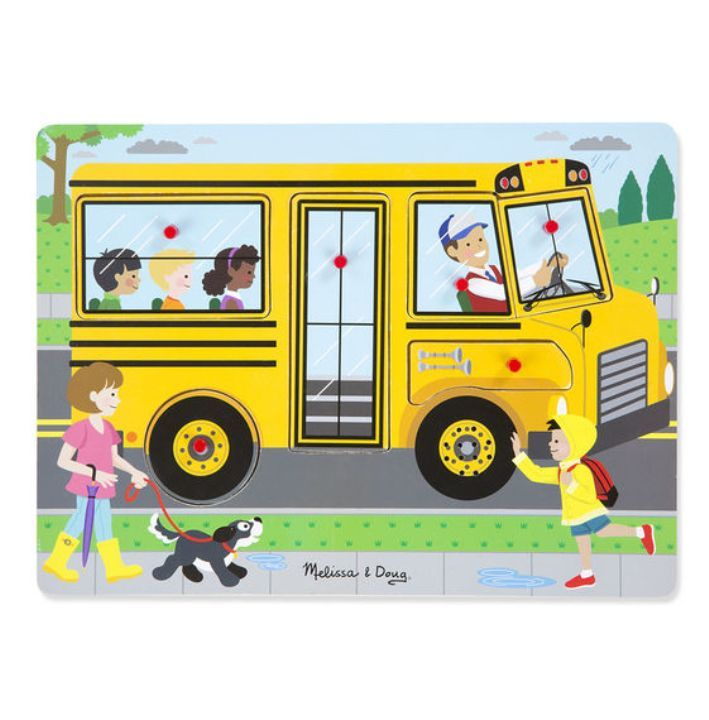 Melissa & Doug - Melissa & Doug Ahşap Sesli Yapboz - The Wheels on the Bus
