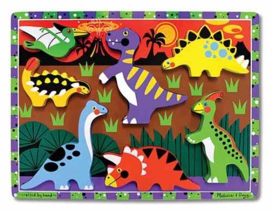 Melissa & Doug - Melissa & Doug Ahşap Tombul Yapboz - Dinozorlar