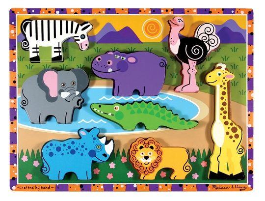 Melissa & Doug - Melissa & Doug Ahşap Tombul Yapboz - Safari