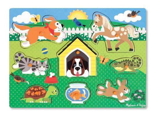 Melissa & Doug - Melissa & Doug Ahşap Tutmalı Yapboz - Evcil Hayvanlar