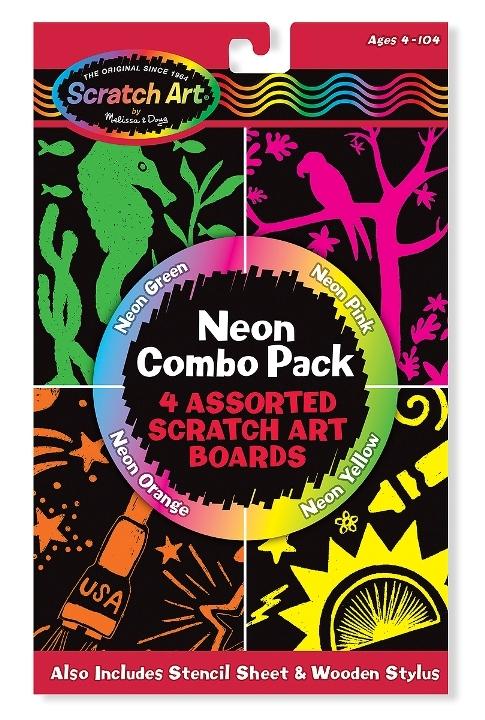 Melissa & Doug - Melissa & Doug Kazıma Sanatı - Renkleri Ortaya Çıkar - Neon Kombo Paket