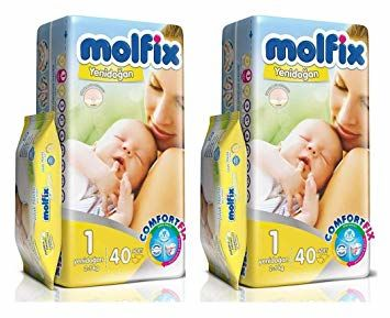 Molfix - Molfix Bebek Bezi 1 Beden 40'lı Paket 2'Lİ SET ISLAK MENDİL HEDİYELİ