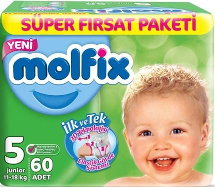 Molfix - Molfix Aylık Fırsat Paketi No:5 11-18 Kg 60 Adet