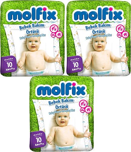 Molfix - Molfix Bebek Bakım Örtüsü 60 x 60 cm 10 adet 3lü