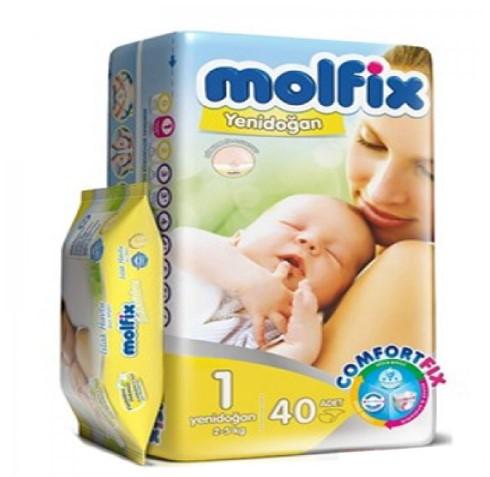 Molfix - Molfix Bebek Bezi Jumbo Paket 1 Beden Yenidoğan 2-5 Kg 40 Adet Islak Havlu 50lı Hediye