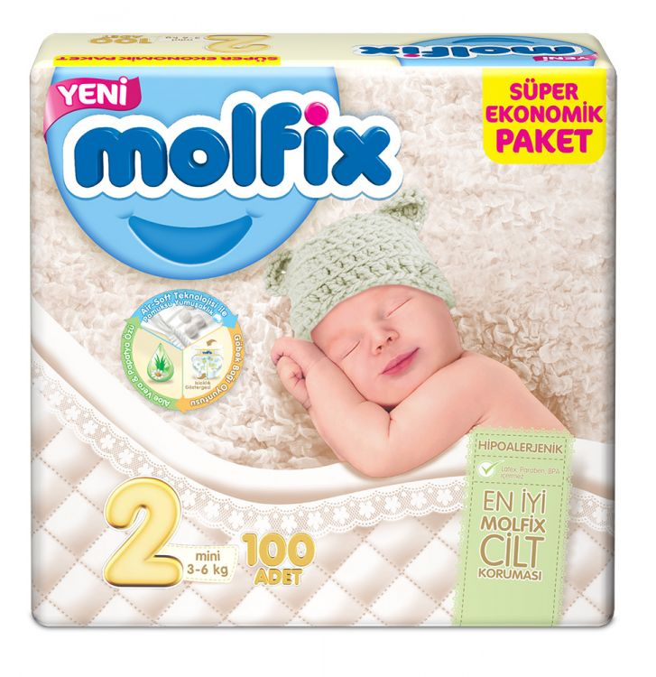 Molfix - Molfix Dev Paket No:2 3-6 Kg Mini 100 lü