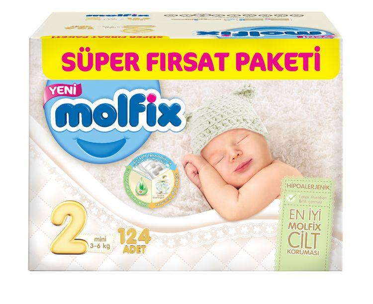 Molfix - Molfix Aylık Fırsat Paketi No:2 3-6 Kg Yenidoğan 124 Adet