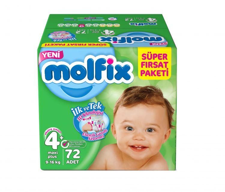 Molfix - Molfix Aylık Fırsat Paket No:4+ 9-16 Kg 72 Adet