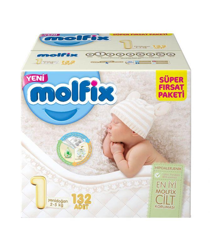 Molfix - Molfix Aylık Fırsat Paketi No:1 2-5 kg Yenidoğan 132 Adet