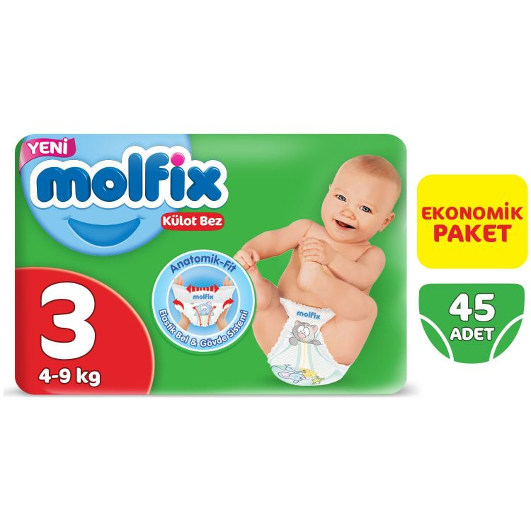 Molfix - Molfix 3 Beden Midi 45 Adet Ekonomik Paket Külot Bez