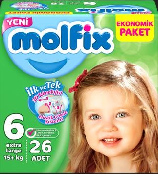 Molfix - Molfix Jumbo No:6 (15+Kg) 26 Adet Extra Large