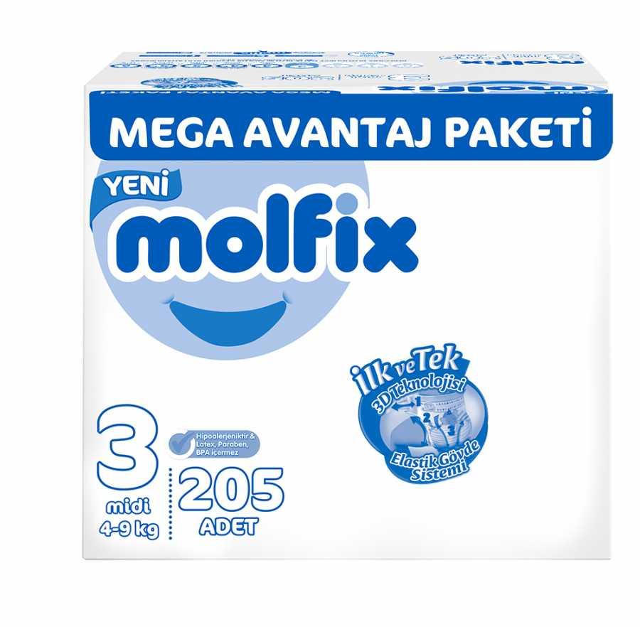 Molfix Mega Avantaj Paketi 3 Beden Midi 4-9 Kg 205 Adet