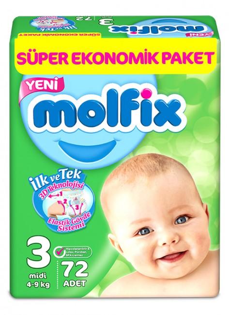 Molfix - Molfix Bebek Bezi 3 Beden Midi Dev Ekonomik Paket 72 adet