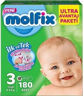 Molfix - Molfix Bebek Bezi 3 Beden Midi Ultra Avantaj Paketi 180 adet