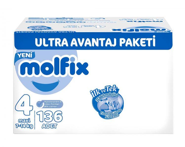 Molfix - Molfix Bebek Bezi 4 Beden Maxi Ultra Avantaj Paketi 136 Adet