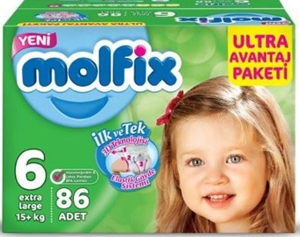Molfix - Molfix 3D Bebek Bezi Ultra Avantaj Paketi 6 Beden Extra Large 86 Adet