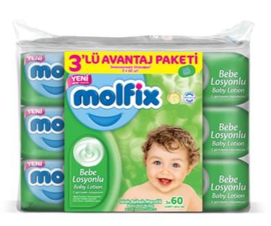 Molfix - Molfix Islak Bebek Mendili Bebe Losyonlu Avantaj Paketi 60x3 180 adet