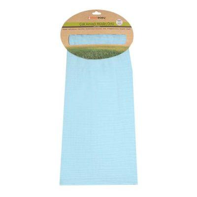 Momeasy - Momeasy 100*120 cm Tek'li BAMBU Müslin Bez Mavi Bambu