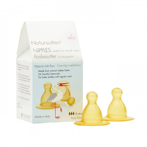 Natursutten - Natursutten Nipples 2 pack, Fast Flow - Biberon Emziği Hızlı Akış (+6 Ay)