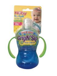 Nuby - Nuby 10052 Kolay Tutuşlu Kulplu Damlatmaz Bardak Mavi