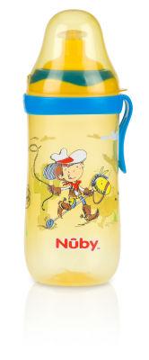 Nuby - Nuby 1250 Bastır Çek Ağızlıklı Bardak Sarı