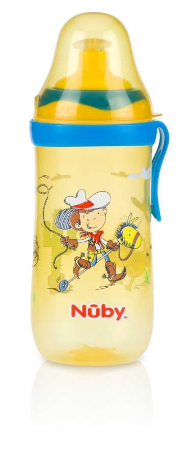 Nuby 1250 Bastır Çek Ağızlıklı Bardak Sarı