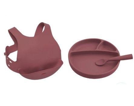 OiOi - OiOi Beslenme Seti (Tabak+Önlük+1 Kaşık) Bordo