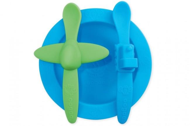 Oogaa - Oogaa Silikon Yemek Seti - Mavi / Yeşil