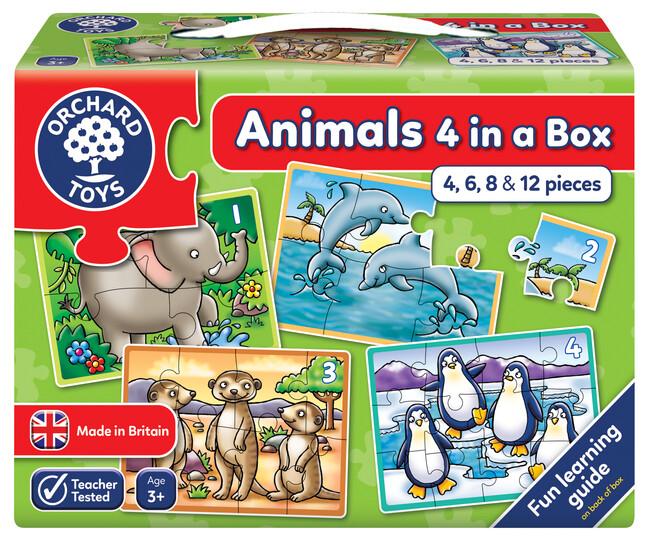 Orchard Toys - Orchard Animals 4 In A Box ( Hayvanlar 4 Yapboz Birarada ) 3 Yaş+