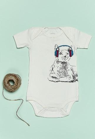 Bluuh Baby - Organik Body Kedi Kulaklıklı Kısa Kol