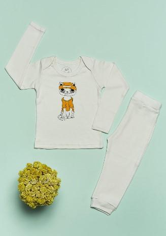 Bluuh Baby - Organik Pijama Takım Kedi Erkek