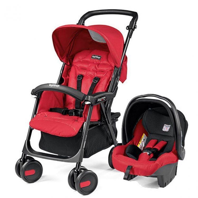 Peg Perego - Peg Perego Aria Shopper Classico Travel Sistem Bebek Arabası Mod Red