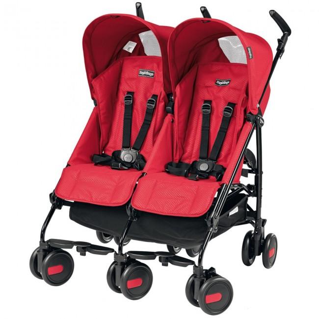 Peg Perego - Peg Perego Pliko Mini Classico Twin İkiz Bebek Arabası Mod Red