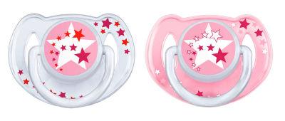 Avent - Philips Avent 0% BPA Yalanci Emzik 0-6 ay Karanlıkta Parlar 2'li- Pembe (SCF176/28 )