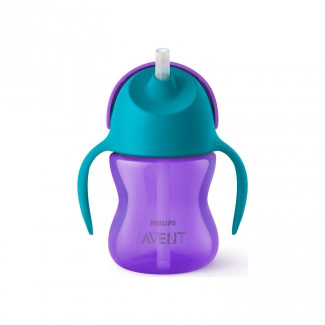 Avent - Philips Avent Desenli Pipetli Bardak 200 ml Kız- Mor