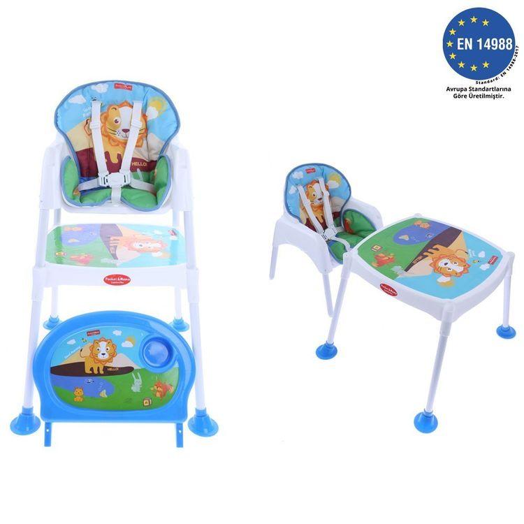 Pocket - Pocket & Mama Lovely Lion - Çalışma Masalı Mama Sandalyesi Mavi