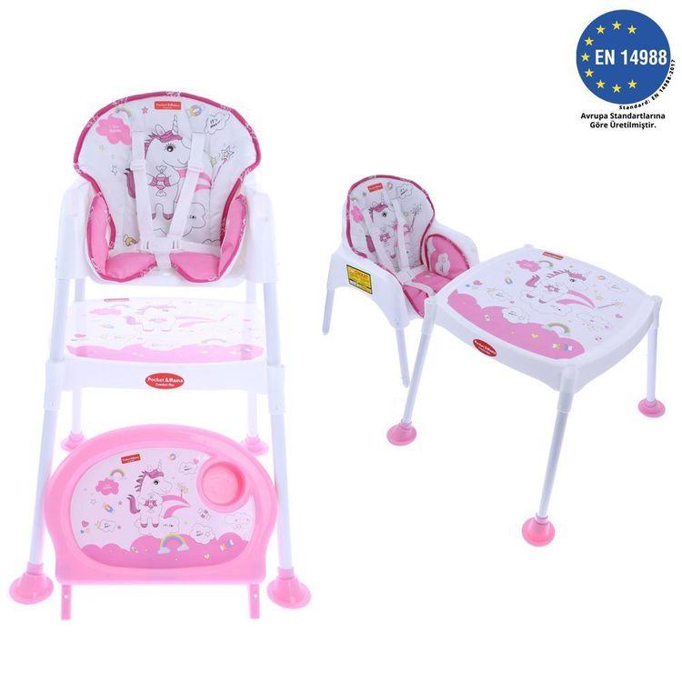 Pocket - Pocket & Mama Lovely Lion - Çalışma Masalı Mama Sandalyesi Pembe